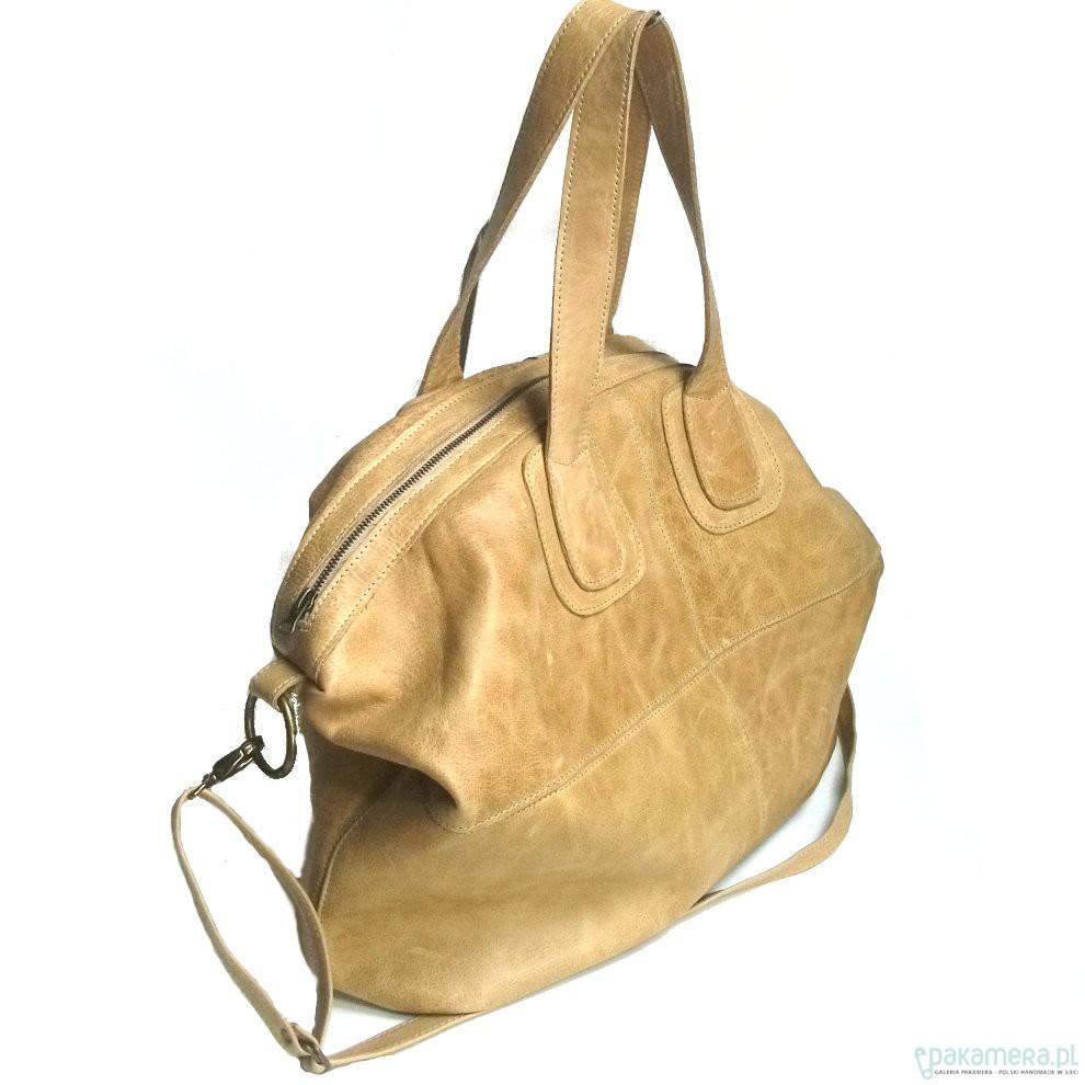 22961b4e97e60 Duża skórzana kamelowa torba - torby na ramię - damskie - Pakamera.pl
