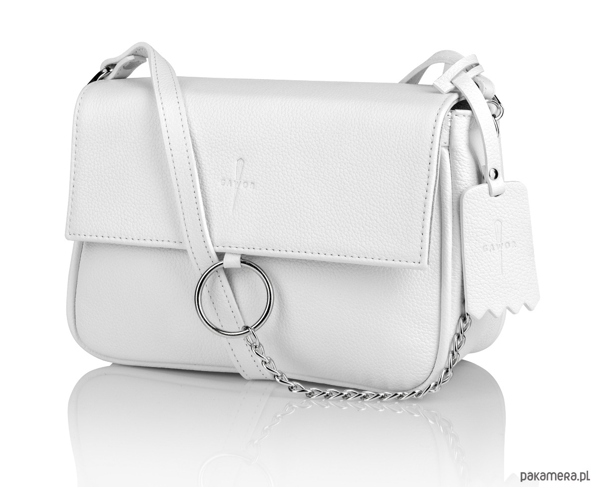 93fda613b518a Skórzana torebka listonoszka biała Cloe G-168 - torebki mini ...