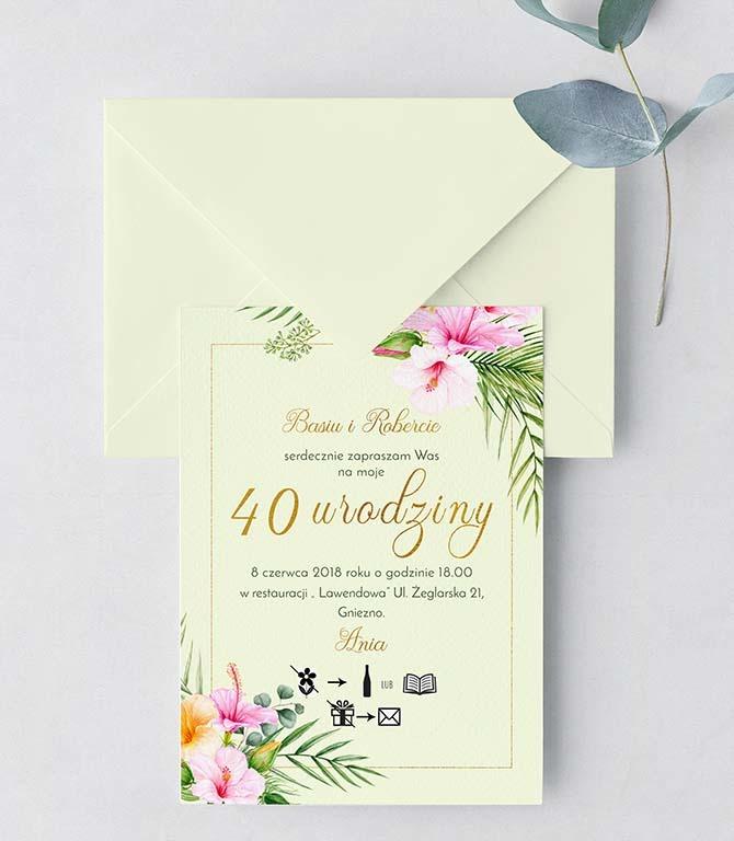 Zaproszenie Urodziny Chrzest Tropikalne Kwiaty Kartki