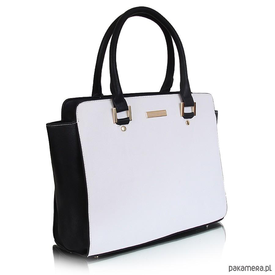 a0e8101fa0504 Torebka SANDRA kuferek czarno-biały - torby na ramię - damskie ...