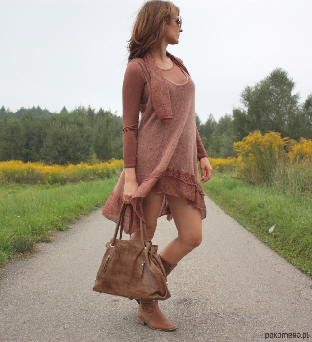 addd5124b62d8 Torebka skórzana WuKaDor Vintage 2025 ruda - torby na ramię ...