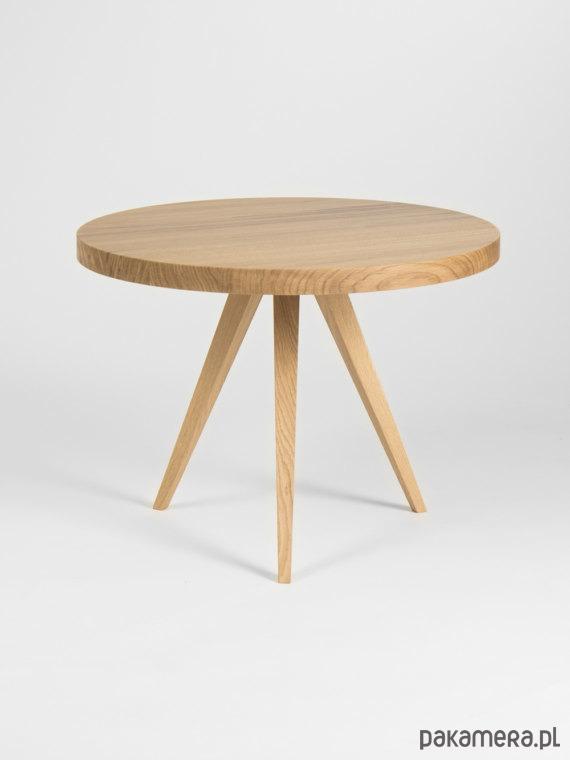 Unikalne Okrągły dębowy stolik kawowy Ø60 - meble - stoły i stoliki UX59