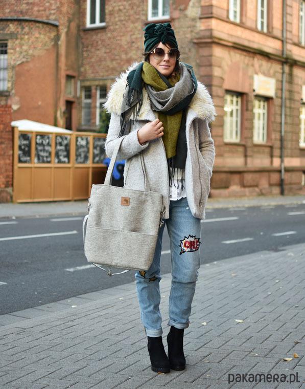 05ac0c18e6675 Szara torba na ramię imitacja lnu A4 - torby na ramię - damskie ...