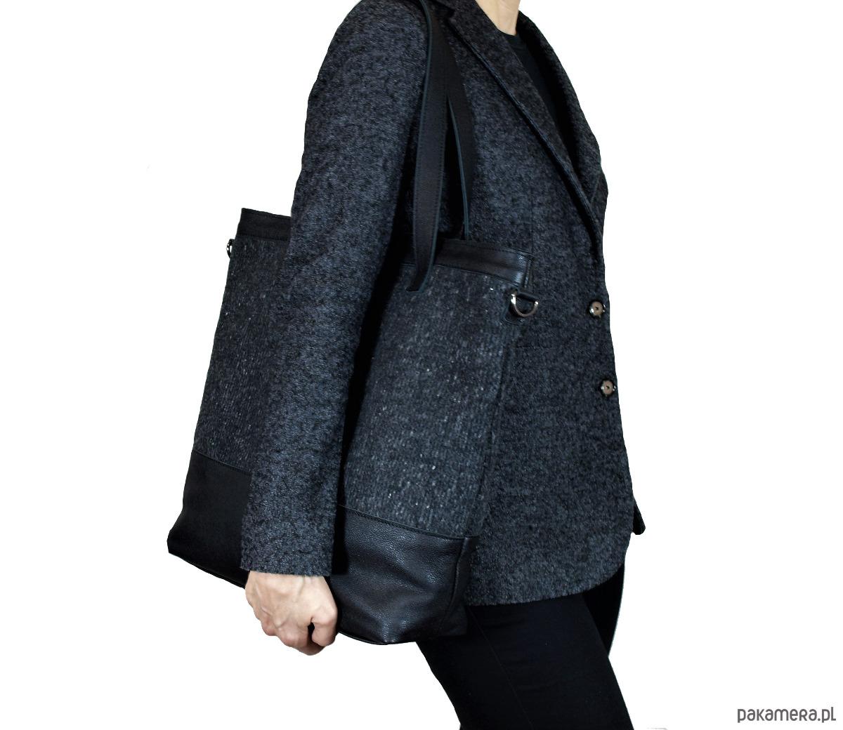 e55d546cc5457 duża szaro czarna torba - torby na ramię - damskie - Pakamera.pl