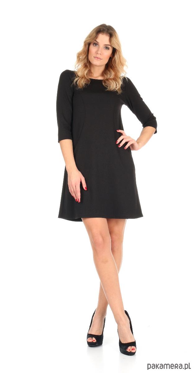 82a0d76454 Sukienka trapezowa czarna mini