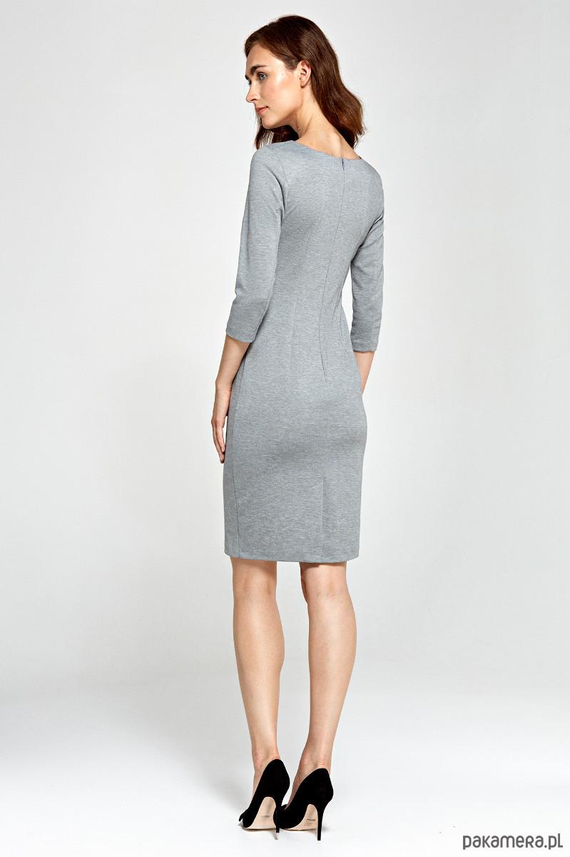 5432c9b757 Sukienka z asymetrycznymi draperiami s88- szary - sukienki - midi ...