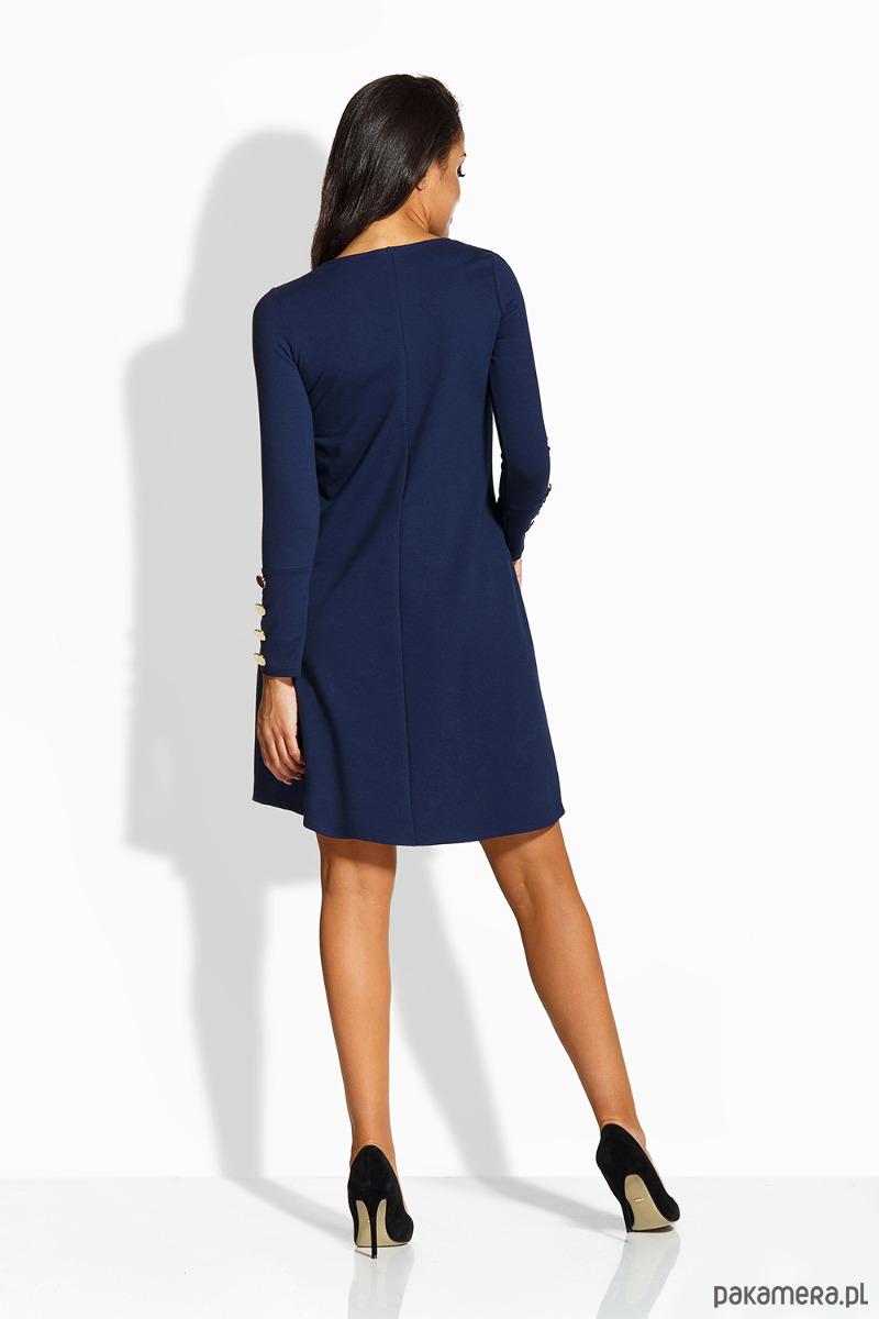 20b4197383 L217 Elegancka rozkloszowana sukienka -granatowy L217 Elegancka  rozkloszowana sukienka -granatowy