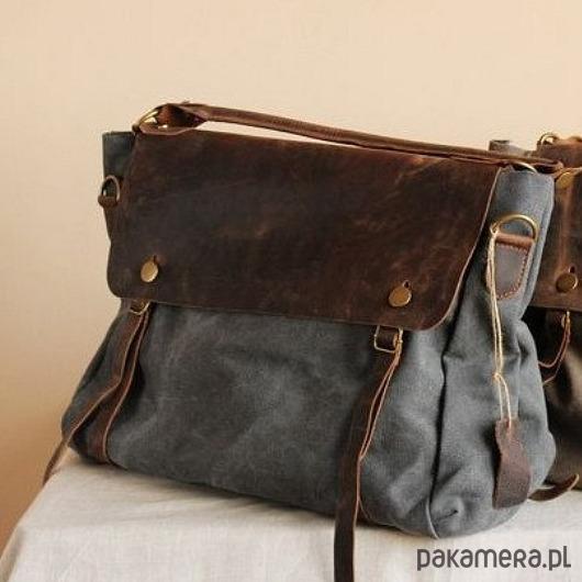 f1d619dea4993 TD2 Szara MAIL VINTAGE™ Bawełna i skóra nat. - torby na ramię ...