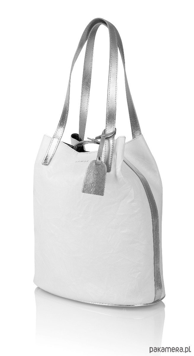 60cdab3d99053 Skórzany biały worek Sofia srebrne dodatki - torby na zakupy ...