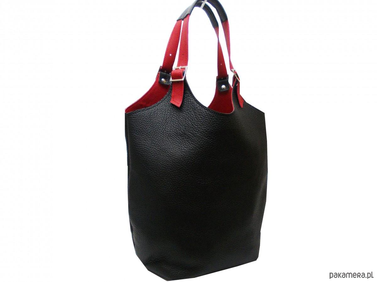 3263a8eb04198 Skórzana torebka kolor  czarno- czerwony - torby na ramię - damskie ...