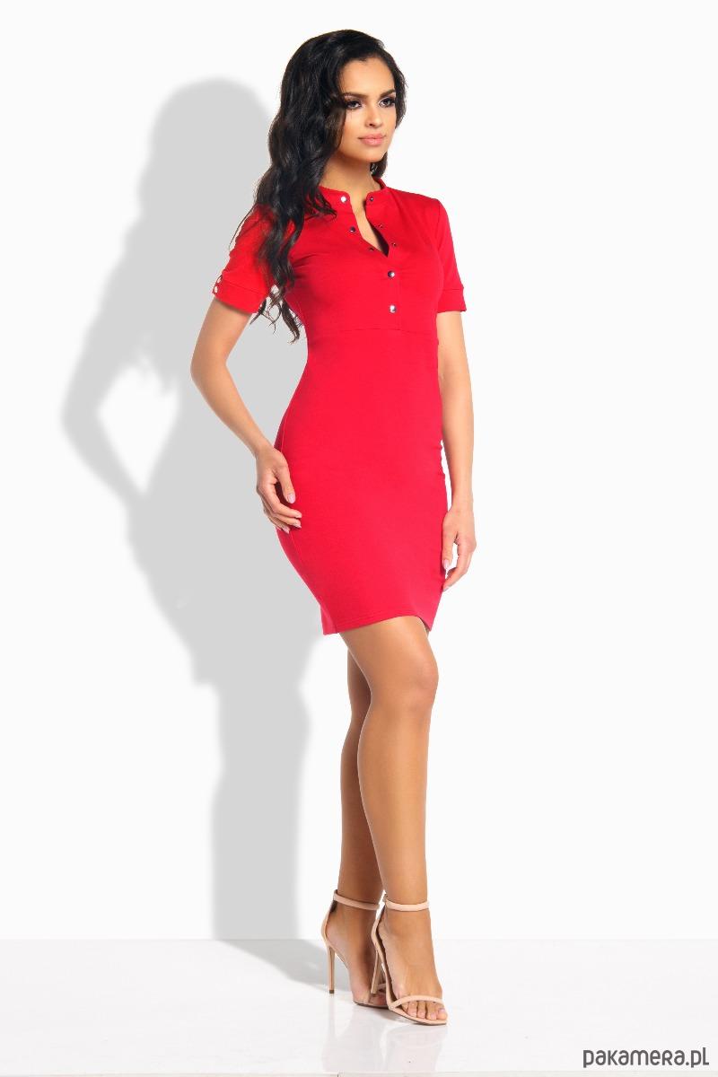 3704dddf38 L191 Elegancka sukienka z guziczkami - czerwony - sukienki - midi ...