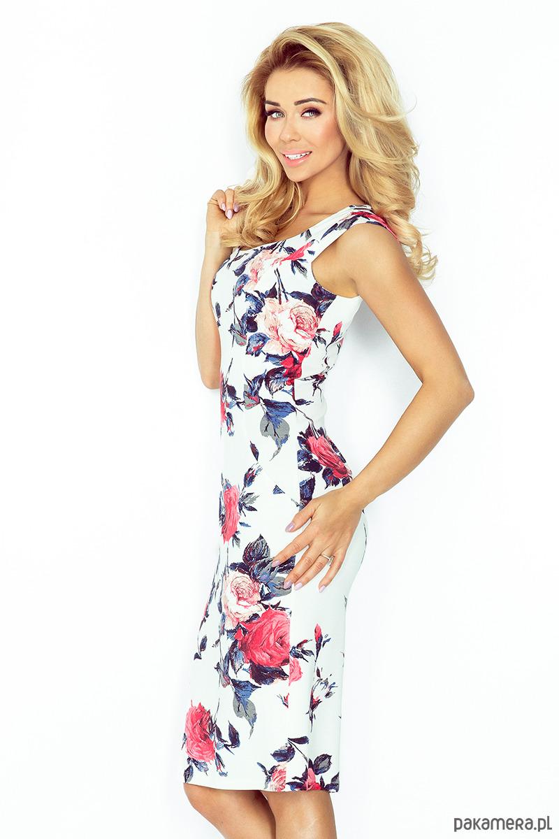 2107751b57 53-30 Dopasowana sukienka - KOLOROWE DUŻE KWIATY - sukienki - mini ...