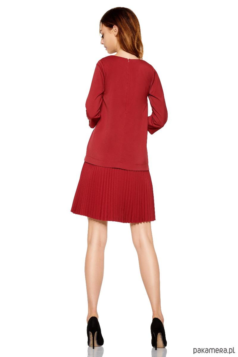 48d7692eed Prosta sukienka z plisowaniami L266 -bordo - sukienki - różne ...
