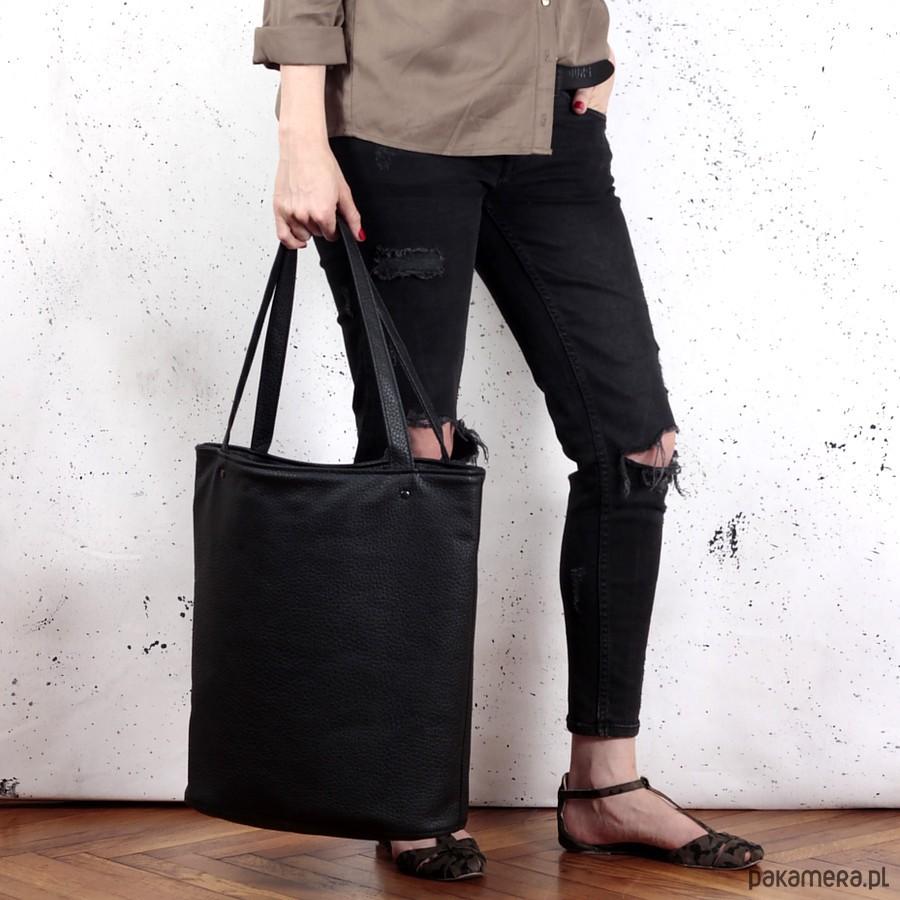 68b0391ad2dca Shopper XL torba czarna z teksturą na zamek - torby na ramię ...