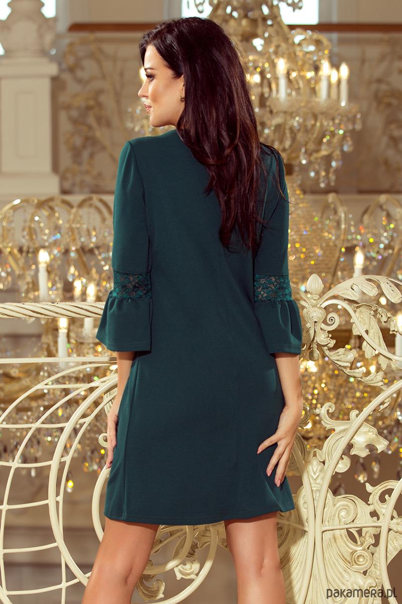 018ab47f07 190-7 MARGARET sukienka z koronką na rękawkach - sukienki - mini ...