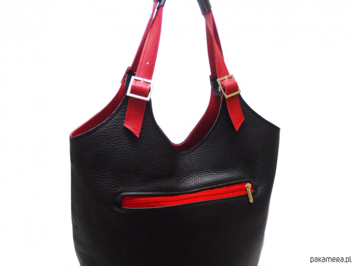 d2023d3dd0a00 Skórzana torebka kolor  czarno- czerwony - torby na ramię - damskie ...