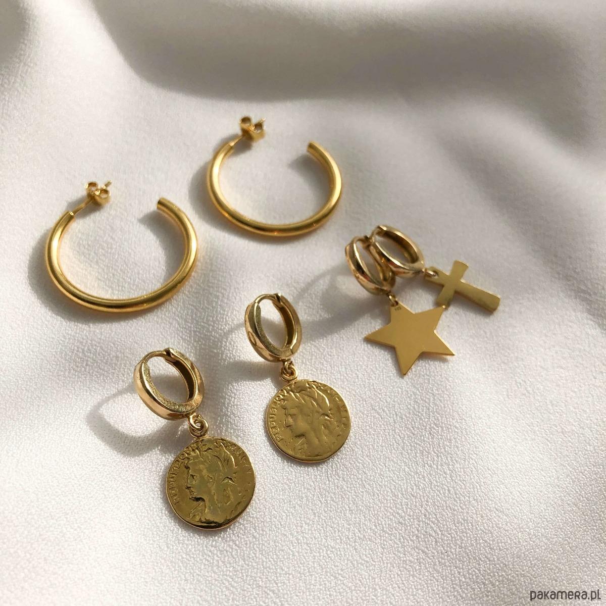 Kolczyki złote koła - duże - kolczyki - złote