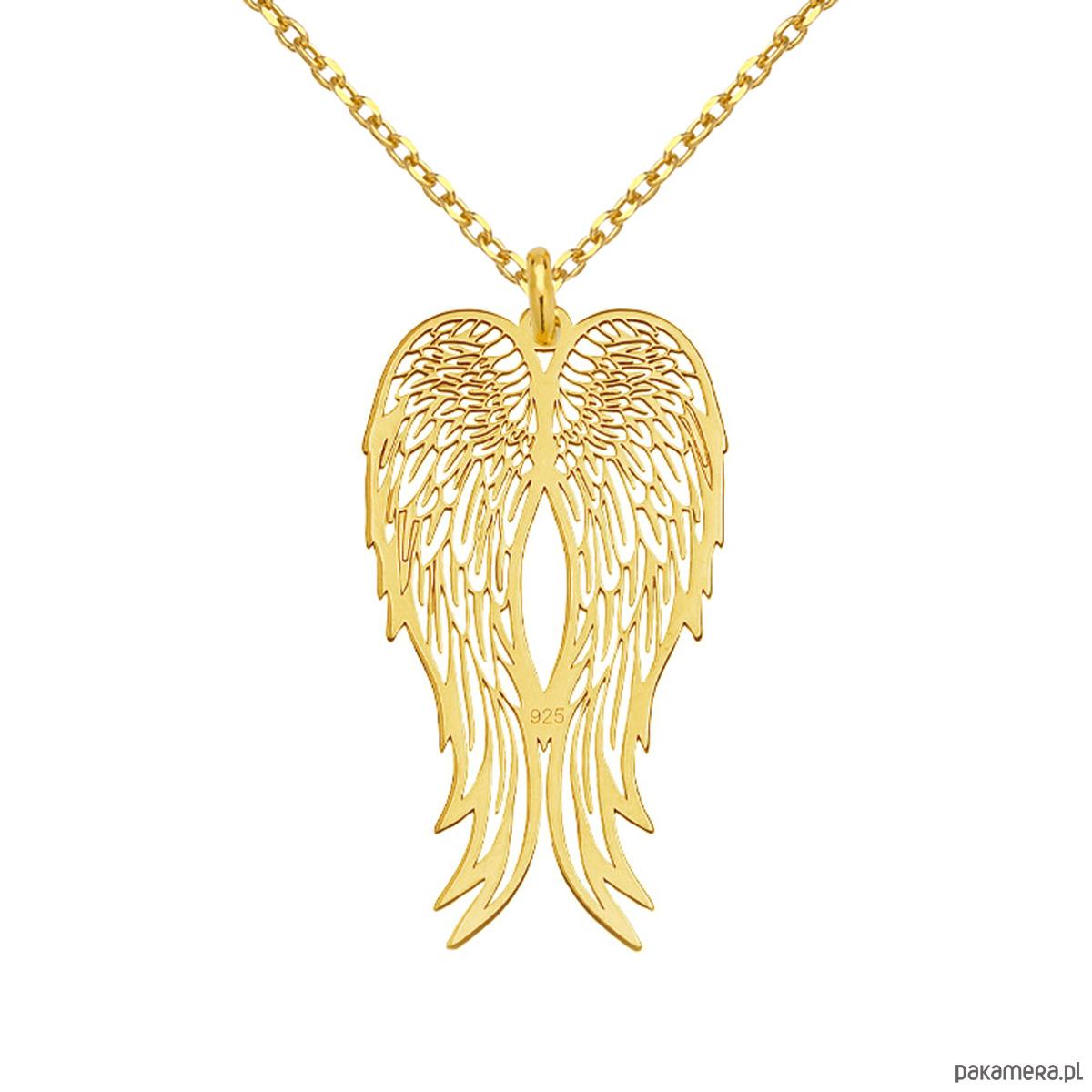 e795e67b232e0f Długi złoty naszyjnik ze skrzydłami - naszyjniki - inne - Pakamera.pl