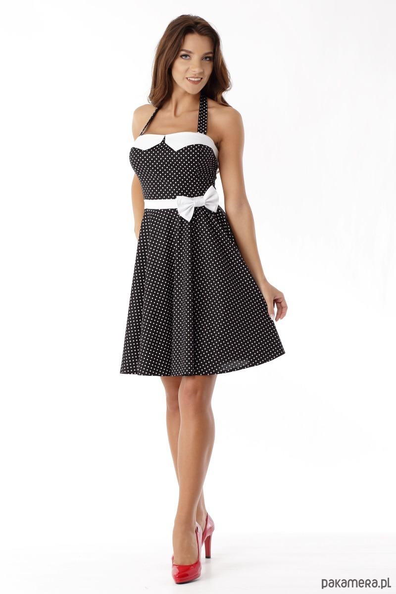 0dbf6e46df Sukienka rozkloszowana PIN UP czarna groszki - sukienki - mini ...