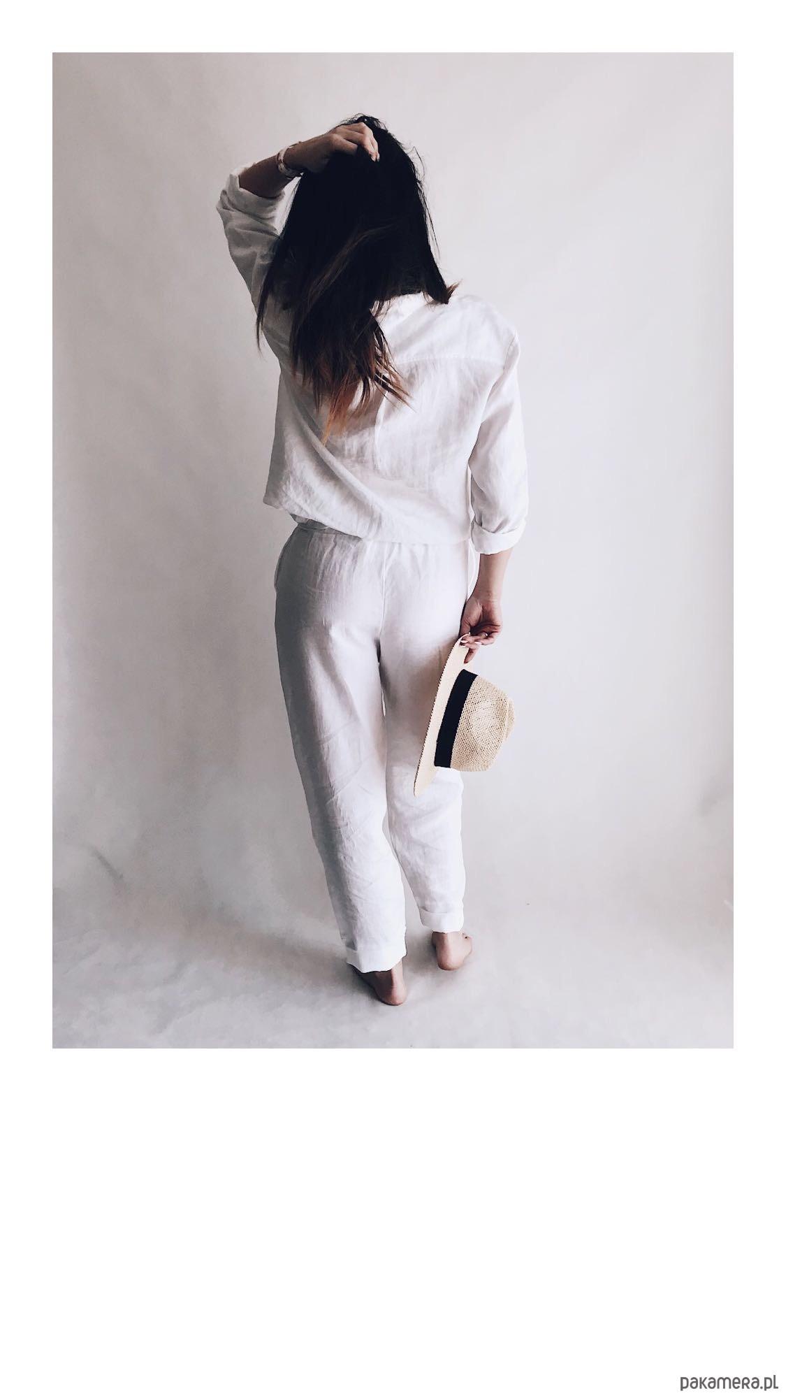 6188ee8917cd7 Białe spodnie lniane - spodnie - inne - Pakamera.pl