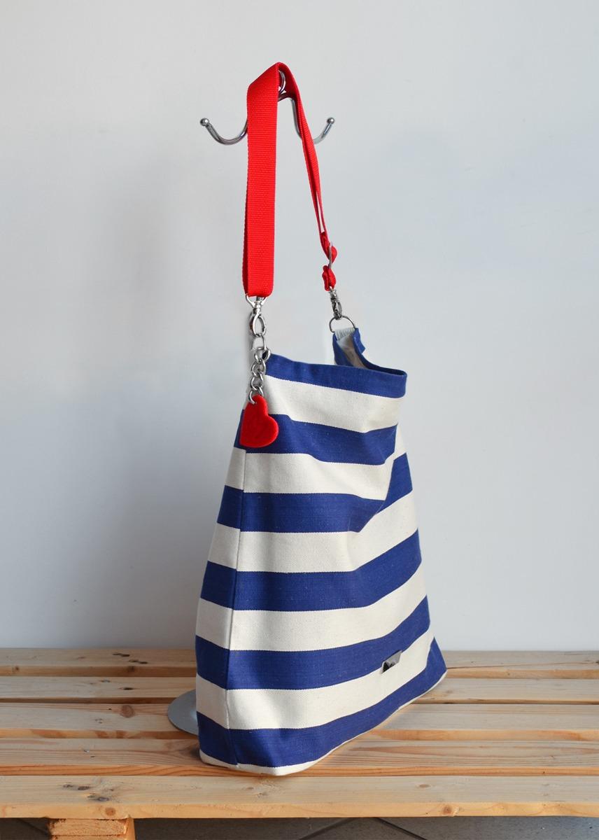 4913cefab4350 Marynarski worek w pasy z blaszką/ torba plażowa - torby na ramię ...
