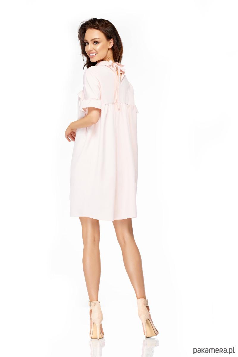 d155a2c577 Elegancka sukienka z kołnierzykiem L307 -puder - sukienki - mini ...