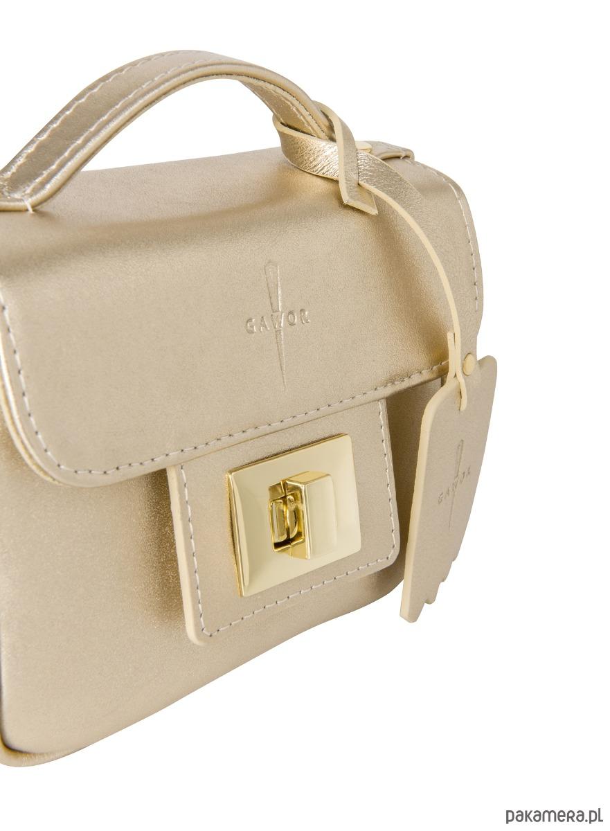 26082ed6313393 Skórzana torebka kuferek złoty Piccolina G-38 - torebki mini ...