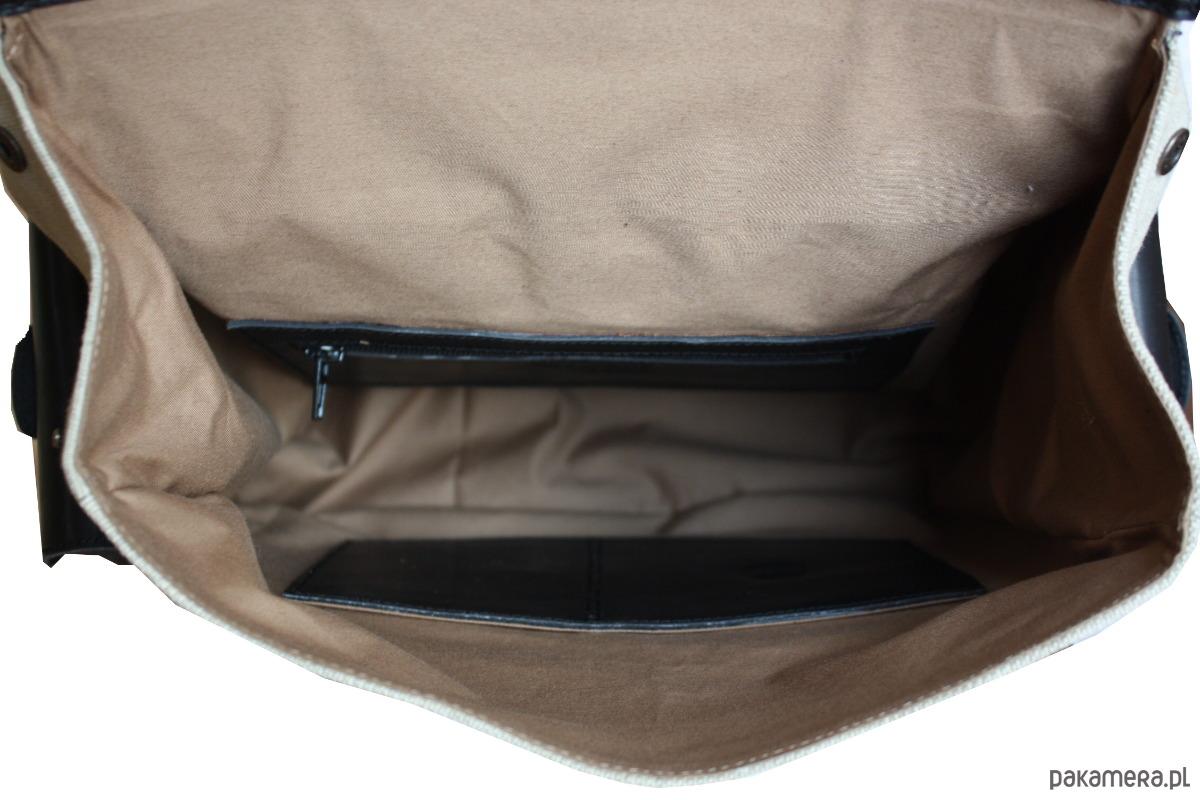 0a11405424414 PLECAK SKÓRZANO PŁÓCIENNY - czerń + beż - akcesoria - torby i nerki ...