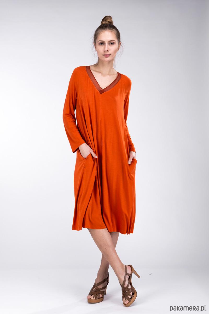 d203c2fa56d6 Simoun Orange Sukienka - sukienki - midi - Pakamera.pl