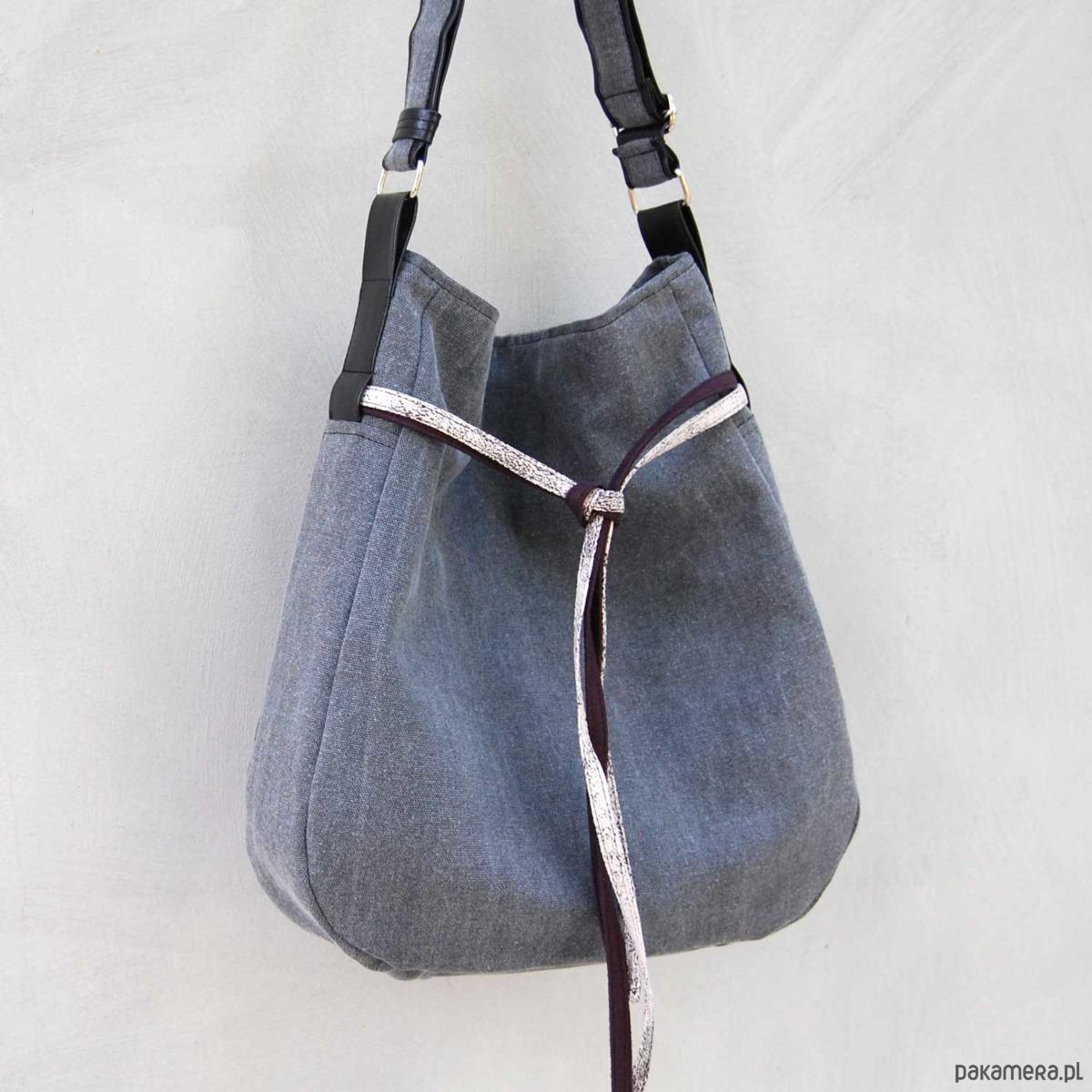 3eabd9d8bfee6 SIMPLY BAG - duża torba worek - szare płótno - torby na ramię ...