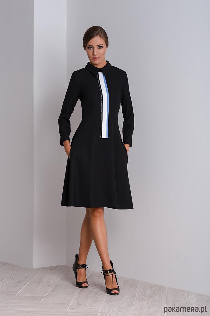 31fc2b36c1 Czarna elegancka sukienka wizytowa z kołnierzyki - sukienki - midi ...