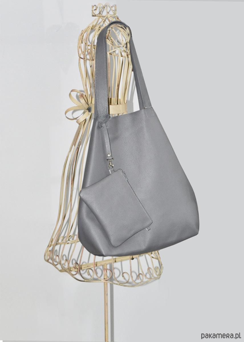 9b2a96042cb9f Skórzany worek na ramię szary XL - torby na ramię - damskie ...